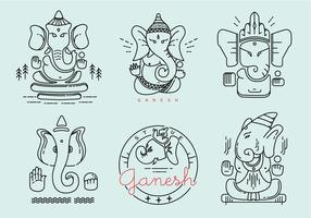 Ganesh Outlined Vector Pack