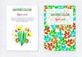 Free Vector Hand Drawn Watercolor Herb Floral Cards