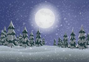 Snowy Pine Tree Landscape Vector