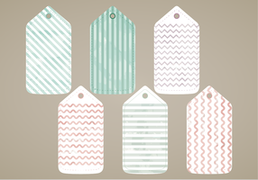 Vector Painted Watercolor Tags Set