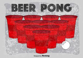 Vector Retro Poster Of Beer Pong Game