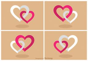 Free Flat Combined Hearts Vector