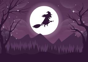 Spooky Witch Halloweeen Vector Illustration