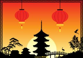 Free China Town Vector Illustration