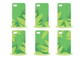 Green Jungle Phone Case Pattern Vector Set