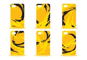 Yellow Abstract Phone Case Pattern Vector Set