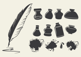 Ink Pot Set Vector