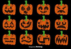 Vector Set Of Hand Drawn Pumpkins