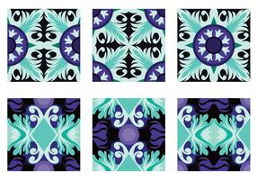 Teal and Purple Portuguesse Tile Vector