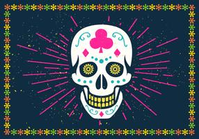 Bright Halloween Sugar Skull Vector Illustration