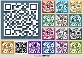 Color For RFID Vector Buttons Of White QR Code Icon