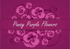 Pansy Purple Flowers Vector Silhouette