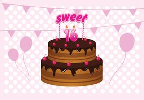 Free  Sweet 16 Birthday Cake Illustration