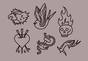 Old School Tattoo Vector Illustrations