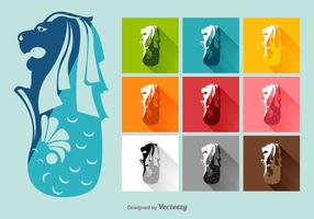 Merlion Vector Flat Icons