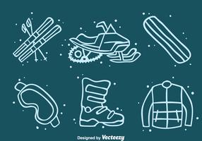 Winter Adventure Element Icons Vector