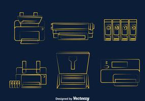 Printer Line Icons