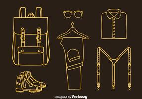 Man Accessories Line Icons Vector