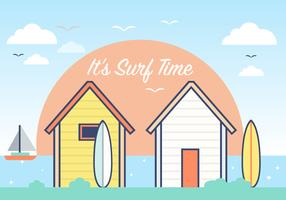 Summer Surf Shack Vector Background