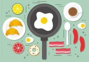 Flat Fried Egg Breakfast Vector Illustration