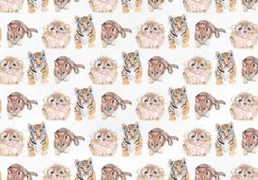 Cute Animal Vector Watercolor Pattern