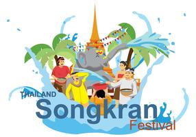 Free Songkran Illustration