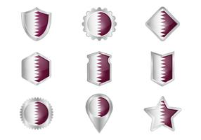 Free Qatar Flag Metal Badges Vector