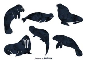 Sea Animal Vector Silhouettes