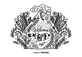 Hand Drawn Welcome Home Lettering Vector