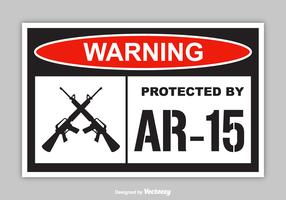 Free Warning Protected By AR-15 Vector Sticker