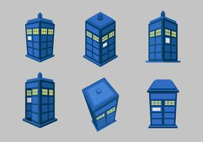 Tardis blue police box flat vector