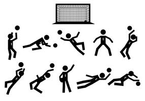 Stick Figure Goal Keeper Icons Vector