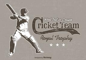 Free Cricket Player Retro Vector Poster