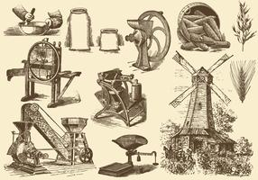 Grain And Mill Illustrations