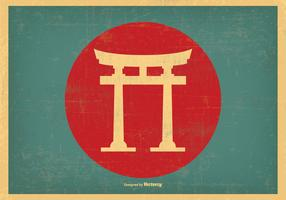 Japanese Retro Torii Gate Illustration