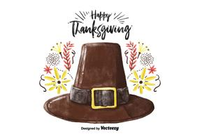 Decorative Thanksgiving Hat Watercolor Vector