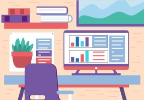 Flat Design Vector Office Room Design