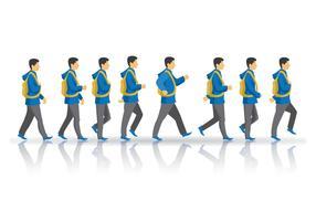 Free Teen Boy Walking Cycle Vector