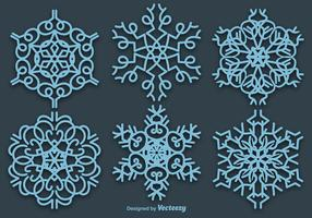 Set Of 6 Vector Blue Snowflakes