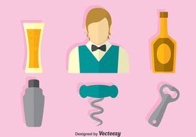 Barman Element Flat Icons Vector