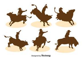 Bull Rider Silhouette Vector Set