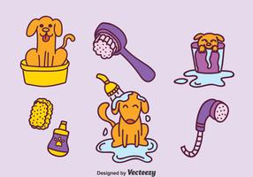 Hand Drawn Dog Washing Vector Set