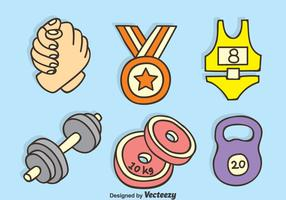 Arm Wrestling And Fitness Hand Drawn Icons Vector