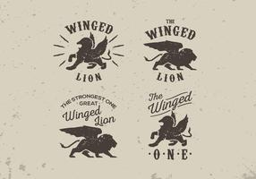 Winged lion old vintage label style lettering vector pack