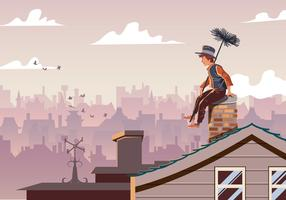 Chimney Sweep Sitting On Pipe