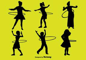 People With Hula Hoop Icon Set