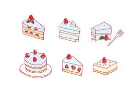 Handdrawn Strawberry Shortcake Vector Set
