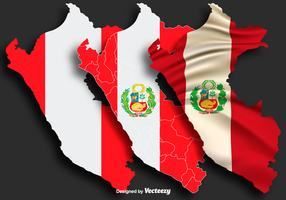 Vector Illustration Of The Map Of Peru With Flag