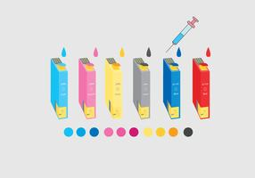 Ink Cartridge Colorful Vector