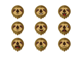 Sloth Emotions Expression Vector